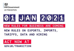 HM Government - UK Transition. 1 Jan 2021. New rules for business are coming. New rules on exports, imports, tariffs, data and hiring. Act now at gov.uk/transition