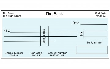 An example blank cheque
