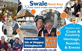 A banner for Visit Swale which features scenes from across the borough.