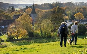 People walking in the Syndale Valley, Newnham