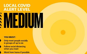 Covid-19 banner illustrating medium level.