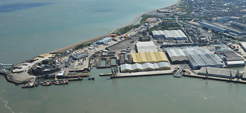Aerial photograph of the Sheerness Port.